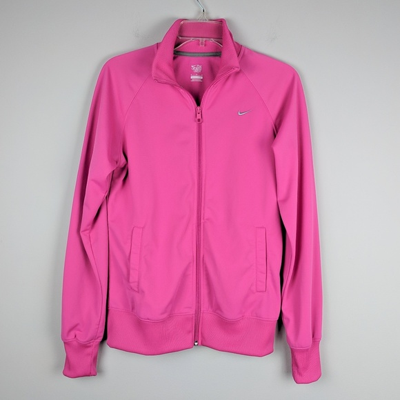 Nike Jackets & Blazers - Nike | Pink Front Zip Jacket Embroidered Logo M